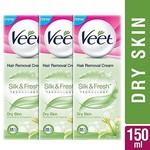 Veet Silk and Fresh Hair Removal Cream, Dry Skin - 50g Pack of 3
