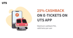 Get 25% cashback on e-tickets on UTS app