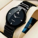 IIK Round Dial Black Metal Strap Analog Watch for Men