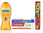 Colgate Palmolive Feel good Essential Oil Bodywash Combo - 250 ml with Total Advance Health Toothpaste - 240 g and Toothbrush 360 Degree Charcoal gold Soft Bristles