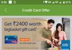 LOOT NO COST BIGBASKET CITIBANK REWARD CARD WITH FREE RS.2400 VOUCHER