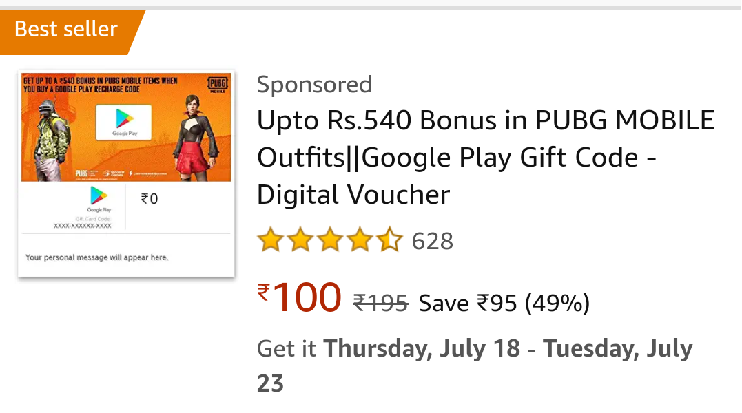 Upto Rs 540 Bonus in PUBG MOBILE Outfits||Google Play Gift