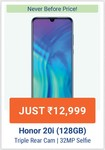 UPCOMING| Honor 20i at 12,999/- (Lowest Ever)+10% off on ICICI cards from 8-10th August.