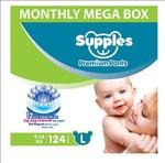 Supples Baby Diaper Pants, Monthly Mega-Box, Large, 124 Count @ 7.49 per diaper