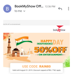 (User specific) Bookmyshow get 50% Off