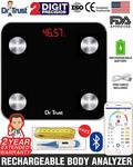 Dr Trust (Usa) Digital Smart Connect Rechargeable Body Composition Monitor Fat Analyzer Weighing Scale (Black)