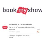 Flat 85rs off on movie tickets at Book My Show