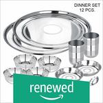 (Renewed) Abode Prime Stainless Steel Dinnerware Set, 12 Pieces, Silver Touch Rs. 357