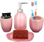 Miamour MMCBSP001005 4 Piece Ceramic Bathroom Accessory, Pink