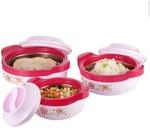 71% Off On Floraware Plastic Casseroles - Pink , Set of 3 499