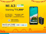 Mi A3 @ 11999 + FREE 18W Fast Charger worth 599 + 10% Off via SBI Cards
