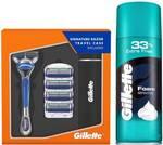 Gillette Fusion Razor Plus Carts 4s Sensitive Foam 418 g  (2 Items in the set)