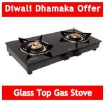 62% off  GOOD FLAME 2 Burners MS Powder Coated With Glass Top Gas Stove - Black