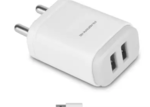 Ambrane AWC-22 2.1A Dual Port Fast Charger with Charge & Sync USB Cable Mobile Charger  (White, Cable Included)