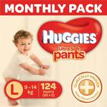 Huggies Ultra Soft Pants Diapers Monthly Pack, Large (124 Count)