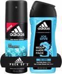 Adidas Ice Dive Deodorant Body Spray, 150ml with Ice Dive Shower Gel, 250ml