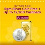 Dhanteras Gold - Silver coin sale - 5g Silver coin free + Up to Rs 2200 Cash back