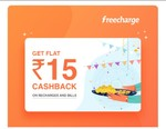 Flat Rs.15 cashback at Freecharge Min trx. Rs.15 - user specific