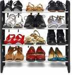 Ebee Plastic Shoe Stand  (Black, 4 Shelves)