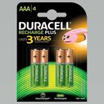 Duracell Recharge Plus AAA - 750 mAh Batteries -Pack of 4