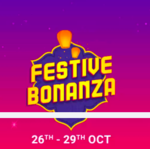 (Last day) Flipkart Festive bonanza (26th -29th October ) 10% instant discount on SBI Debit and Credit Cards. Also, valid on Credit EMI transactions.