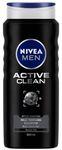 NIVEA MEN Hair, Face & Body Wash, Active Clean Shower Gel, 500ml