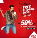 BrandFactory : Everything @ Flat 50% Off + Free Shipping on min. ₹499 order