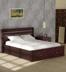 Osen Queen Size Bed With Storage in New Oak Finish by Mintwud