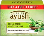 Lever Ayush Cool & Fresh Aloe Vera Soap, 100 g each (Buy 4 Get 1)