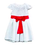 TheTickleToe Kids Girls Baby White Blended Dress with Pink Bow Casual Summer Winter Dress 3-4 Years