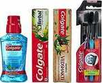 [Pantry] Colgate Herbal - 200 g with Swarna Vedshakti - 200 g and Plax Peppermint Mouthwash - 250 ml with Free Slim Soft Toothbrush