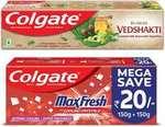 Colgate Swarna Vedshakti - 200 g with MaxFresh Spicy Fresh Saver Pack - 300 g