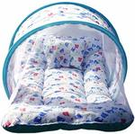 Baby Swing Baby Bedding Set Toddler Mattress with Mosquito Net & Baby Neck Pillow (Blue, 0 to 12 Month) (Blue)
