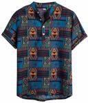 Rosatro Men Shirts Casual Mens Ethnic Half Sleeve Cotton Linen Printing Hawaiian Shirt Regular Fit Blouse(Blue,XL)