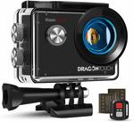 Dragon Touch 4K 30fps Action Camera Support External Mic EIS Waterproof Underwater Camera Vision4 Lite 4X Zoom Remote Control WiFi Sports Camera with 2 Batteries and Mounting Accessories Kit