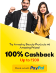 Get 100% cashback upto ₹200 for the first transaction through PayPal