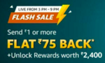 Flash sale send rupees 1 and get cashback of 75 and unlock offers worth 2400(user specific)(3pm -9pm)