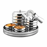 Shri and Sam Stainless Steel Ribbed Bar Set, 9-Pieces, Silver@641