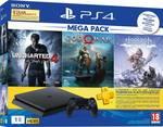 Sony PS4 Slim 1 TB with Horizon Zero Dawn, God of War, Uncharted 4  (Jet Black)