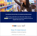 Flat 3% discount on using American Express Card in Bigbazaar, Foodhall and hypercity