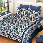 Home Pictures 120 TC Microfiber Double 3D Printed Bedsheet  (Pack of 1, Blue)