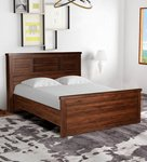 Yuuto Queen Size Bed with Storage in Walnut Finish by Mintwud
