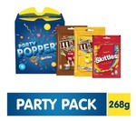 M&M's Party Poppers Assorted Chocolates and Candy Gift Pack (M&M's, Skittles)- 268g