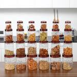 Milton Hexa Pet Jar - 300 ml, 750 ml, 1400 ml, 2000 ml Plastic Spice Container  (Pack of 24, Clear, Brown)