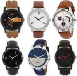 Analouge Designer Leather Balt balt set of 6 combo watch For Boys and Men Analog Watch - For Men@ 451
