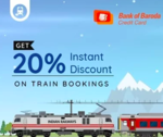 Train Ticket Booking Offers- Flat 20% off upto Rs.100 on Goibibo & Makemytrip using Bank of Baroda Credit Card