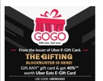 Gift any E-Gift Card and get 40% upto Rs 20 worth Uber Eats E-Gift Card