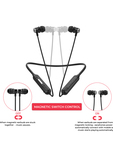 WINGS Unisex Black Switch Bluetooth Earphones with Magnetic Control function
