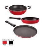 Nirlon Non-Stick Aluminium Mini Cookware Set (Tawa, Fry Pan, Kadhai), Red