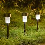 Solar Powered Rechargeable LED Lawn Garden Light Lamp Auto On Off Waterproof (Set of 2, Black)